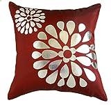 "That's Perfect! Pop! Flowers Decorative Silk Throw Pillow Sham - Fits 18"" x 18"" Insert (Deep Red)"