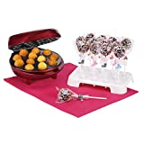 VonShef Cake Pop Maker 12 Hole Red + 50 Paper Sticks, 50 Plastic bags + Twist Ties and 12 Hole Stand