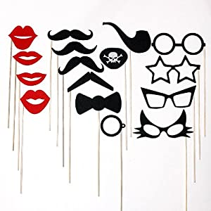 Mustache on a Stick Wedding Party Photo Booth Props, Includes Lips , Glasses , Pirate Eye Patch, Bow Tie and Pipe 16 Piece Set