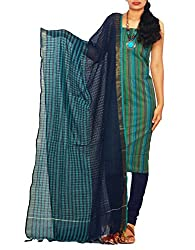 Unnati Silks Women Unstitched multicolor-navy blue pure handloom Andhra khadi cotton salwar Kameez