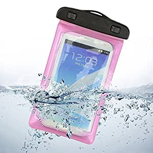 Waterproof Case Universal Dry Bag Pouch for iPhone 6S 6 6S Plus 5S 7 Samsung Galaxy S7 S6 Note 5 4 HTC LG Sony Nokia Motorola and other upto 7 inch smartphones Pink