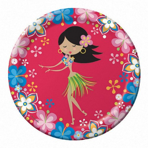 Summer Luau Lets Hula! Red 6 3/4in Dessert Plates Party Accessory - 1