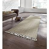 Teppich Läufer mit Oranamenten, Baumwolle, natur/grau, ca. 70 x 200 cm
