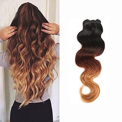 14-24inch 100% Unprocessed Virgin Brazilian Hair Extensions Grade 7A Quality Weave Weft Thick 3 Bundles 300g , Ombre Colour (#1b Natural Black+#33 Light Auburn+ #27 Honey Blonde)