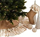 Sidonia Cotton and Jute Ruffled Holiday Decor Christmas Tree Skirt, One Piece