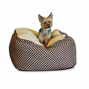 K&H Deluxe Small Cuddle Cube, Brown Squares, 22-Inch by 22-Inch