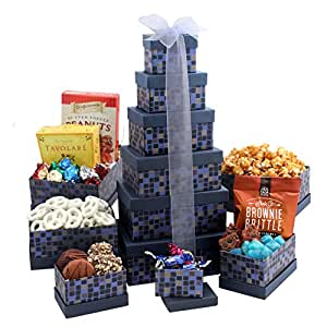 Broadway Basketeers Soaring Saphire Sympathy Gift Tower (Kosher)