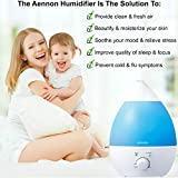 Premium Cool Mist Ultrasonic Humidifier w/ Aroma Essential Oil Diffuser - No Noise - 7 Color LED Lights - 7 Hours+ Use - Auto Shut-off & ETL Safety Approval for Children