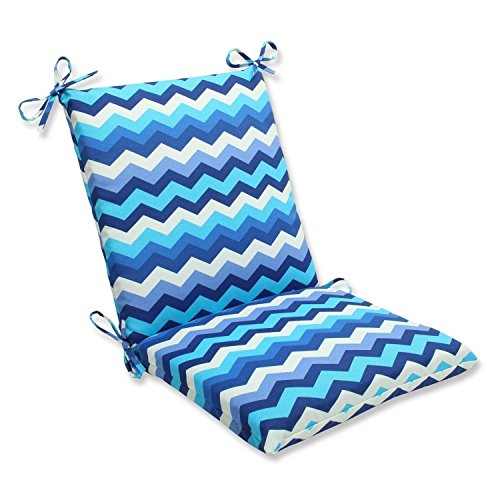 """36.5"""" Rayas Azules Blue, Navy and White Chevron Striped Outdoor Patio Chair Cushion"""