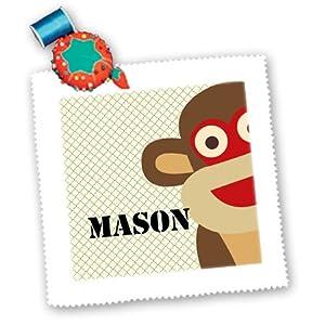 3dRose qs_123367_4 Mason Sock Monkey Boy Names Cute Children's Art Quilt Square, 12 by 12-Inch
