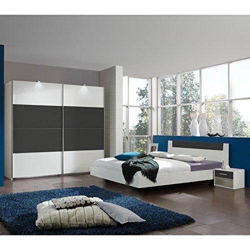 Komplett Schlafzimmer weiß anthrazit 160cm Futonbett Kleiderschrank Nachttische