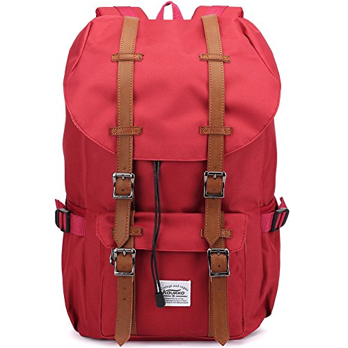 Kaukko Portable Outdoor Travel Hiking Backpack for Women with 2 Side Pouches (Nylon Red ) (Side Backpack For Women compare prices)