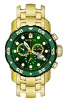 Invicta Mens Pro Diver Scuba Swiss Chronograph Green Dial 18k Gold Plated Bracelet Watch 80072