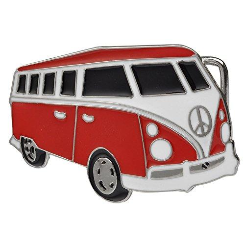Buckle Rage Adult Womens Volkswagen Bus Peace Sign Retro Hippie Belt Buckle Red