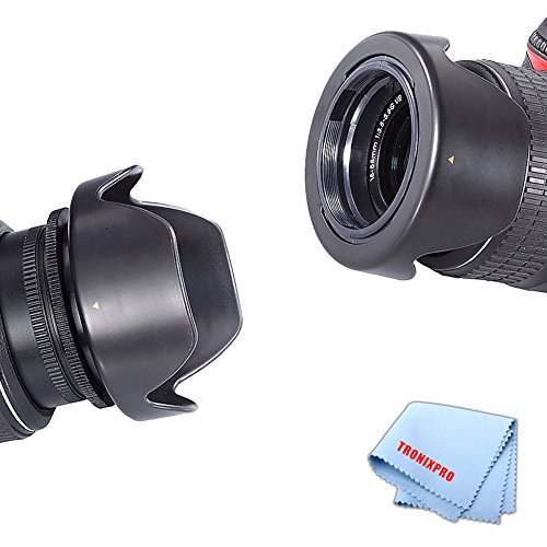 Tronixpro 58mm Hard Tulip Reversible Lens Hood mount for Canon: T1i T2i T3 T3i T4i T5 T5i T6i T6S SL1 10D 20D 30D 40D 70D 5D 5DS 5DII 5DIII 6D 1D 50D 60D 7D 7D II 80D 5DS R + Microfiber cloth (Tulip Hood And Battery compare prices)