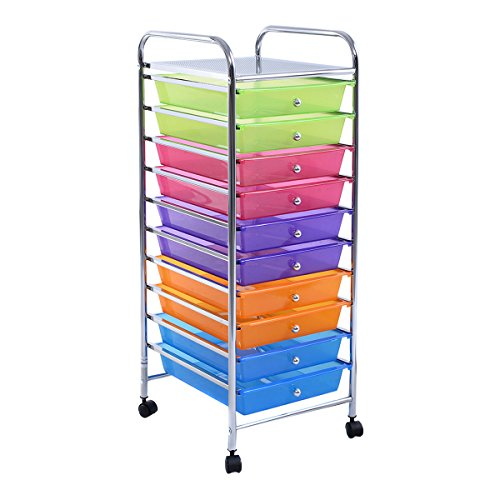 Giantex 10 Drawer Rolling Storage Cart Scrapbook Paper Office School Organizer Clear (COLOR)