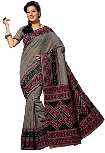 101 Cart fashion Printed Cotton Saree With Blouse in Black [KS362] (multicolor)