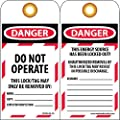 "NMC LOTAG36-25 Lockout Tag, ""DANGER - DO NOT OPERATE,"" 6"" Height x 3"" Width, Unrippable Vinyl, Red/Black on White (Pack of 25)"