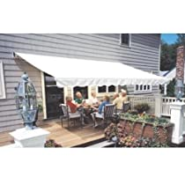 Hot Sale Sunsetter Pro Motorized Awning (14 Ft / Solid Cream) With Traditional Laminated Fabric With Right Mounted Motor And Wall Bracket