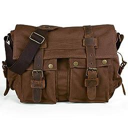 Peacechaos®Casual Leather Canvas Shoulder Bookbag Messenger 14-inchlaptop Bag + Dslr Slr Camera Canvas Shoulder Bag(brown)