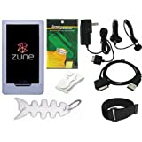 TPA- Ultimate Premium Accessory Bundle Combo for Microsoft Zune HD 16GB / 32GB Series MP3 Player: Clear/White Silicone Skin Case Cover, Car Charger, Wall / Travel / AC Adapter Charger, 2in1 Sync USB Cable, Adjustable Armband, Belt Clip, Fishbone Style Keychain and a Screen Protector / Guard with a Lint Cleaning Cloth