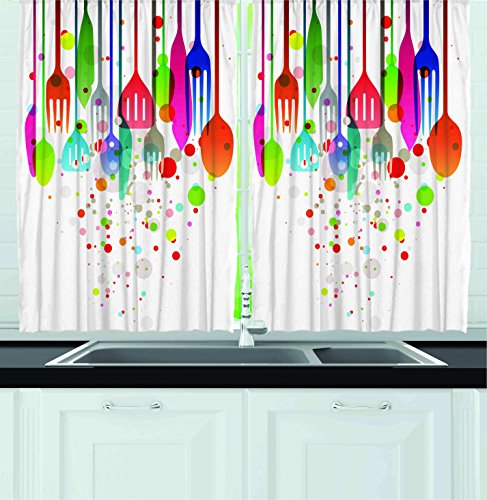 Ambesonne Kitchen Decor Collection, Home Decor Kitchenware Utensils Cutlery Abstract Modern Cafe Art Design Vibrant, Window Treatments for Kitchen Curtains 2 Panels, 55X39 Inches, White Pink Blue (Modern Kitchen Decor compare prices)