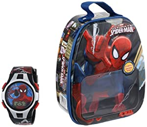 Marvel Comics Spider-man Kid's SPM052T LCD Watch Set with Gift Box