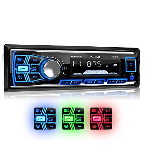 XOMAX-XM-RSU254BT-Autoradio-mit-Bluetooth-Freisprecheinrichtung-3-Farben-einstellbar-Blau-Rot-Grn-USB-Anschluss-bis-128-GB-Micro-SD-Kartenslot-bis-128-GB-fr-MP3-und-WMA-AUX-IN-Verkrzte-Einbautiefe-Sin