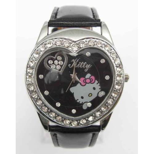 Miss Peggy Jos   Hello Kitty Heart Shape Quartz Watch bezel Is About the Size of a Half Dollar   ***Comes with a Hello Kitty Necklace***