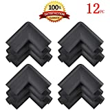 KINGLAKE® 12 Pcs Thick Baby Safety Soft Corner Guards Baby Safety Protectors Furniture Corner Bumpers Black