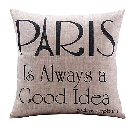Buy Cheap Create For-Life Cotton Linen Decorative Pillowcase Throw Pillow Cushion Cover Paris is Alw...
