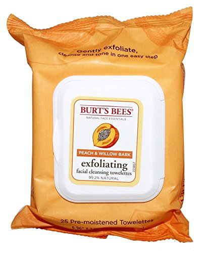 burts-bees-facial-cleansing-towelettes-peach-and-willow-bark-25-count-by-burts-bees