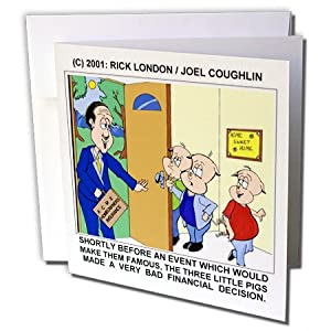 gc_1383_2 Londons Times Funny Animals Cartoons - Three Little Pigs And Homeowners Insurance - Greeting Cards-12 Greeting Cards with envelopes