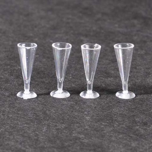 Dollhouse Miniature Four Empty Pilsner Glasses - 1