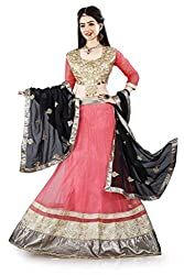 Lehenga Choli Pink Color Fully Stitched Free Size Womens Net Lehenga by Pushpila