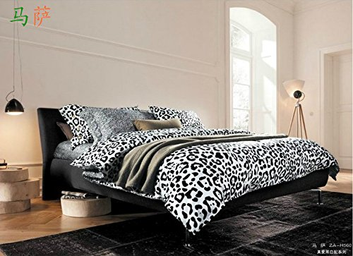 Queen Size 100% Cotton 4-Pieces Modern White And Black Leopard Skin Prints Duvet Cover Set/Bed Linens/Bed Sheet Sets/Bedclothes/Bedding Sets/Bed Sets/Bed Covers/5-Pieces Comforter Sets (4) front-995920