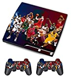 Designer Skin Sticker for Sony PS3 Slim Console System + Decals for Playstation 3 Dualshock Controller - Basketball
