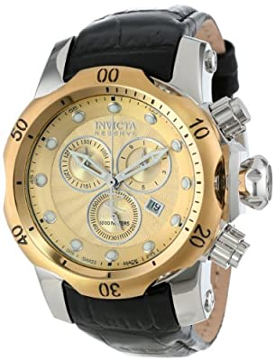 Invicta Men's 10819 Venom Reserve Chronograph Gold Textured Dial Black Leather Watch
