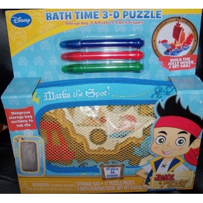 Disney Jake and the Never Land Pirates Bath Time 3d Puzzle & Bath Crayons, 5 Pc - 1