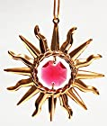 24K Gold Plated Hanging Sun Catcher or Ornament..... Sun With Red Swarovski Austrian Crystals