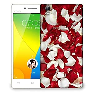 Snoogg White And Red Petals Designer Protective Back Case Cover For VIVIO Y51L