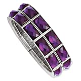 1928 Silver-tone Purple Epoxy Stones Stretch Bracelet