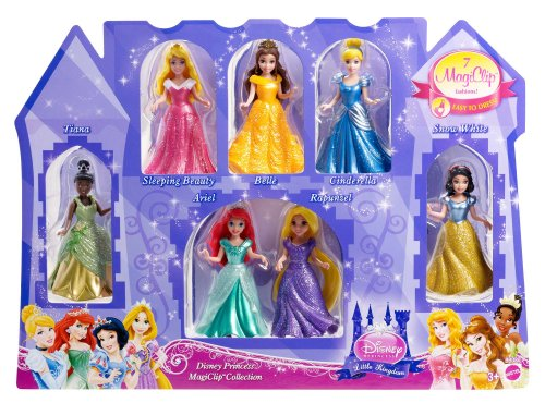 Disney Princess Little Kingdom Magiclip 7-Doll Giftset (Discontinued by manufacturer) (Mattel Clip Dolls compare prices)