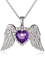"Sterling Silver Heart Amethyst and Round Created White Sapphire Pendant Necklace, 18"" from Verigold Jewelry Co, Gem Division"