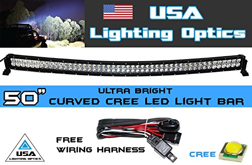 "50"" 288W Curved Cree Led Light Bar By Usa Light Optics Tm Spot Flood Combo Beam Off Road 4X4 Radius Fog, Jeeps, Truck, Utv Suv 4Wd"