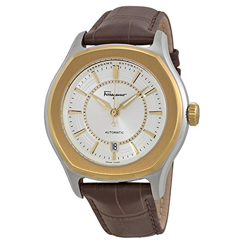"Salvatore Ferragamo Men's FQ1030013 ""Lungarno"" Stainless Steel and Gold Ion-Plated Automatic Watch with Leather Band image"