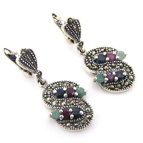 13+g Genuine Ruby Emerald Sapphire Gemstone Marcasite 925 Silver Earring Pair