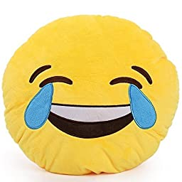 1 X Round Oi Emoji Smiley Emoticon Cushion Pillow Stuffed Plush Toy Doll Yellow(tears of Happiness+free Transformers Key Chain) by HP95(TM)