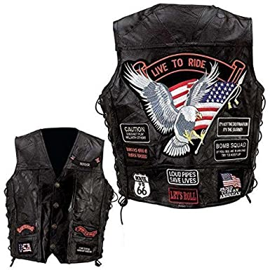 GILET CUIR BIKER LIVE TO RIDE TAILLE L