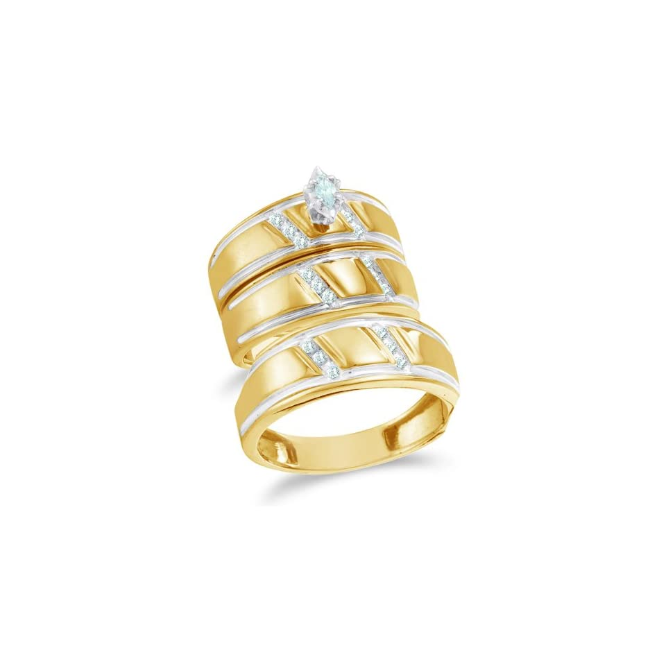 Size 13   10K Yellow and White Two Tone Gold Diamond Mens and Ladies His & Hers Trio 3 Three Ring Bridal Matching Engagement Wedding Ring Band Set   Solitaire Setting w/ Channel Set Marquise & Round Diamonds   (1/4 cttw)   SEE PRODUCT DESCRIPTION TO CHOO